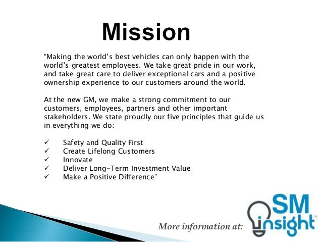 General motors mission statement for Toyota motor corporation mission statement