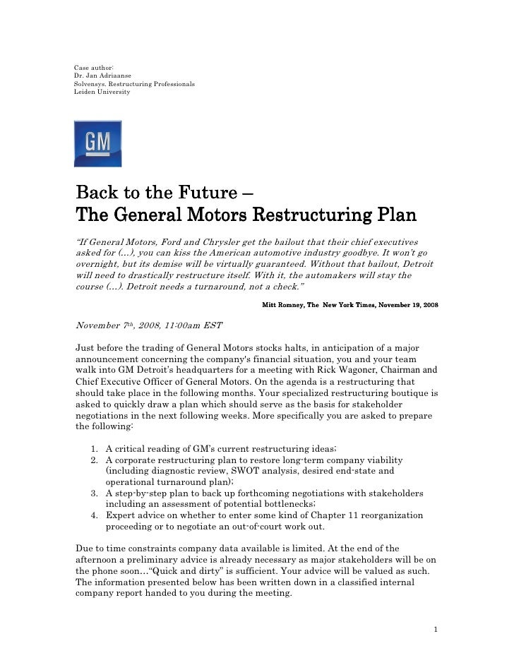 Case author: Dr. Jan Adriaanse Solvensys. Restructuring Professionals Leiden University     Back to the Future – The Gener...