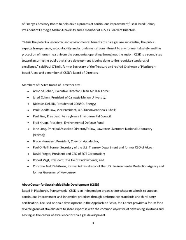 Press Release Announcing The New Center For Sustainable Shale Develop