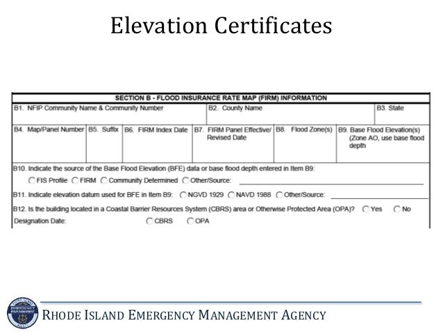 Certificate Of Elevation Rhode Island