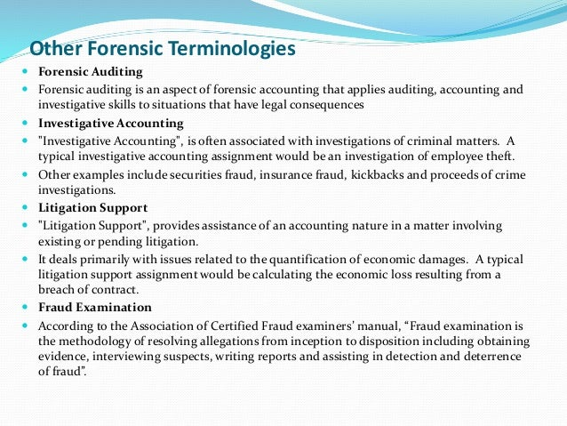 forensic accounting and fraud auditing As a student of forensic accounting, you have the opportunity to focus your master's degree on the exciting and often complex integration of accounting, audit, legal and investigative skills in the prevention, detection and investigation of financial fraud and dispute resolution.