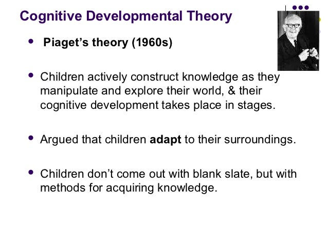 Cognitive Developmental Theory    Piaget's theory (1960s)    Children actively construct knowledge as they     manipulat...
