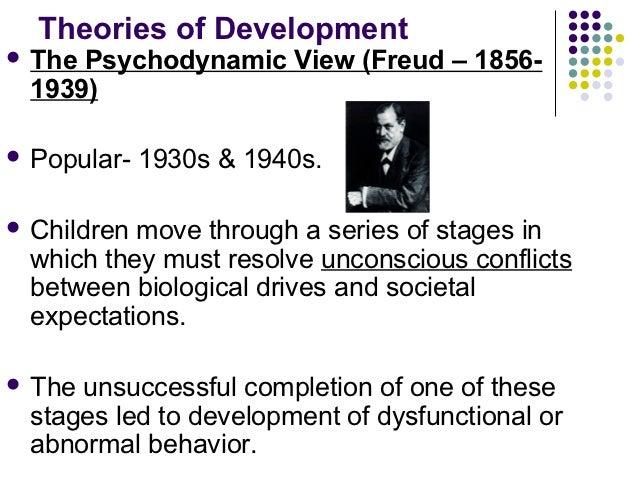 Theories of Development ThePsychodynamic View (Freud – 1856- 1939) Popular-   1930s & 1940s. Childrenmove through a ser...