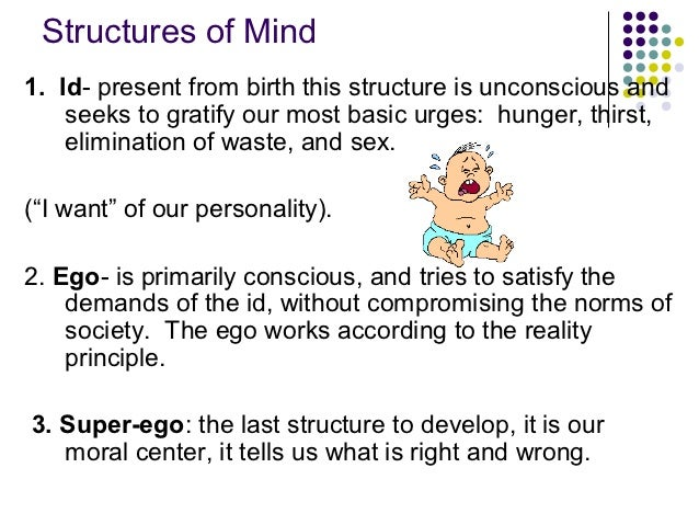 Structures of Mind1. Id- present from birth this structure is unconscious and    seeks to gratify our most basic urges: hu...