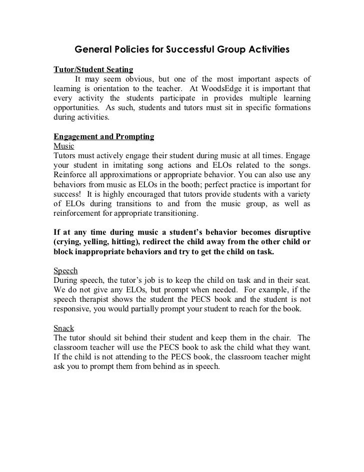 General Policies for Successful Group ActivitiesTutor/Student Seating       It may seem obvious, but one of the most impor...