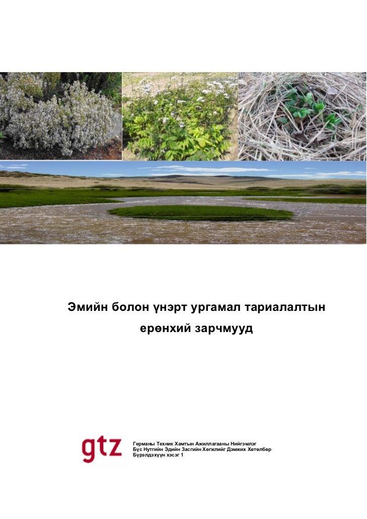 Эмийн болон үнэрт ургамал тариалалтын           ерөнхий зарчмууд         Германы Техник Хамтын Ажиллагааны Нийгэмлэг      ...
