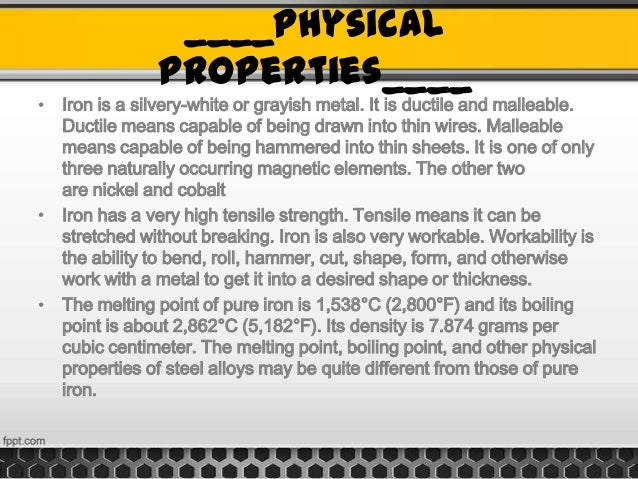 Physical Properties Of Iron Metal