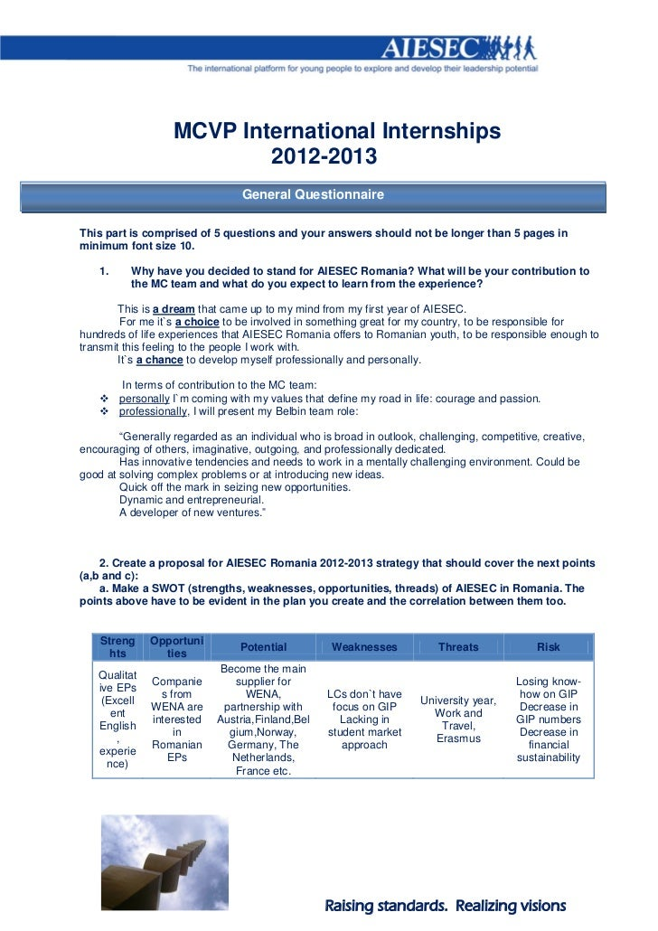 MCVP International Internships                           2012-2013                                 General QuestionnaireTh...