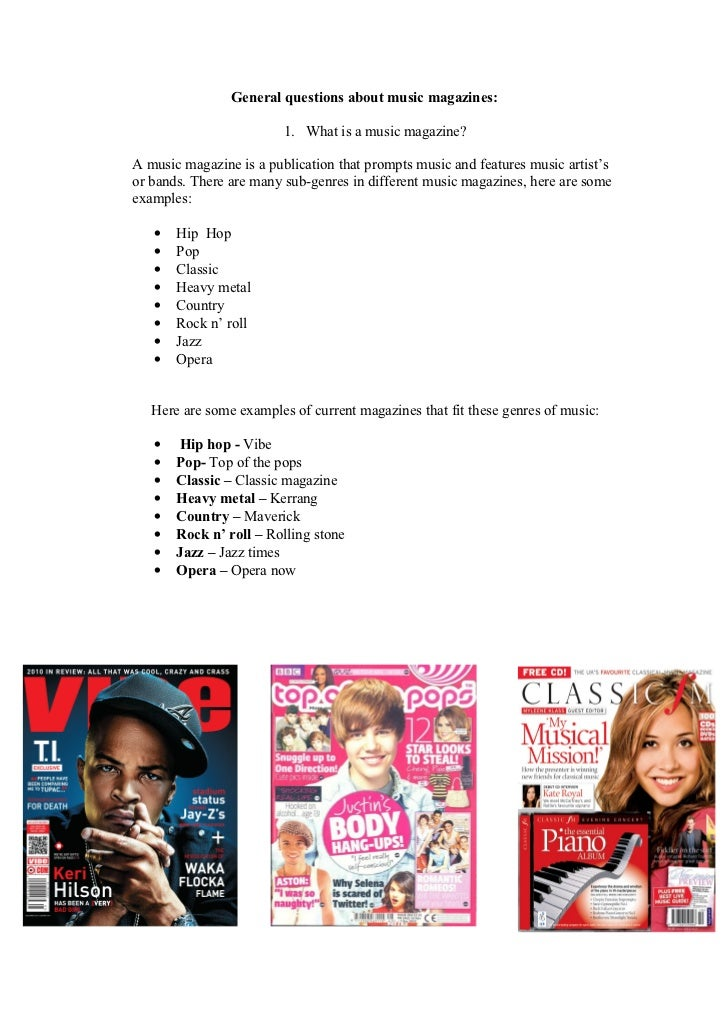 General questions about music magazines