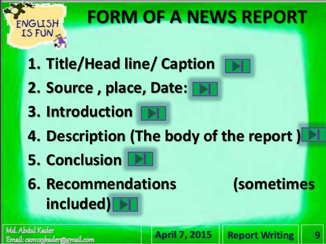 how to right a report writing Formal report writing 481 technical report writing this article provides some general guidelines and tips for writing technical reports.