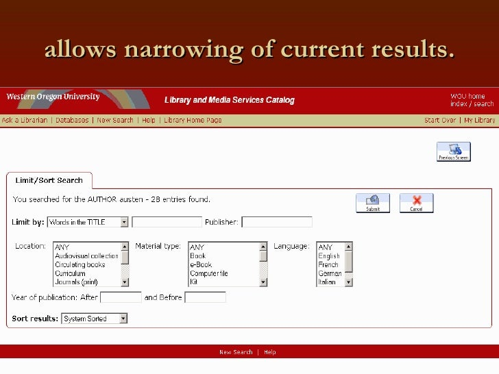 allows narrowing of current results.