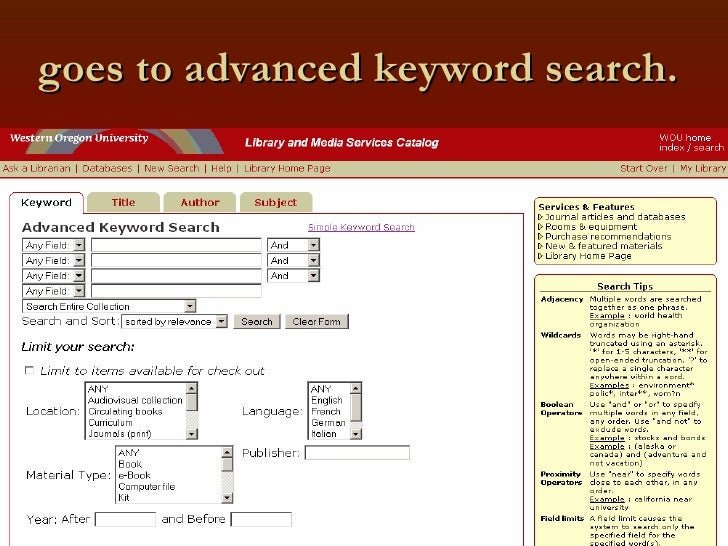 goes to advanced keyword search.