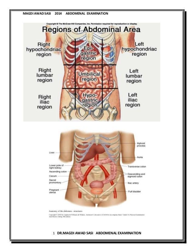 General rules of abdomenal examination