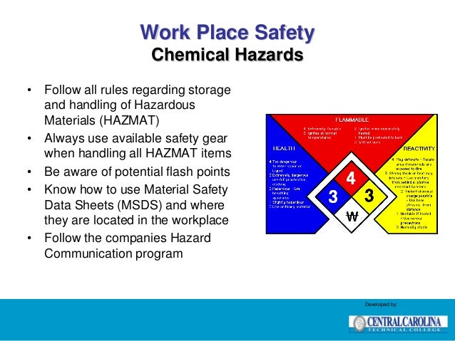 health and safety processes at work chemical hazards The toxic effects of a chemical may be local or systemic  development of an  allergic rash, breathing difficulty, or other reactions  anyone who works with, or  plans to work with carcinogens or  occupational safety and health  administration (osha) (link is.