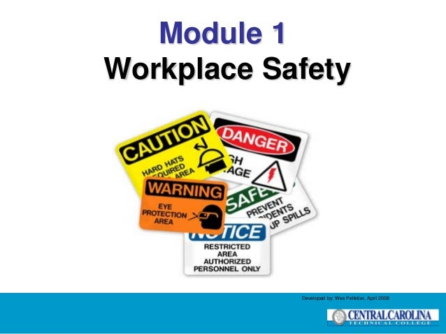 Module 1 Workplace Safety Developed by: Wes Pelletier, April 2008