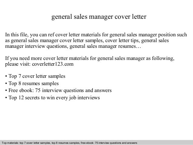 General Sales Manager Cover Letter In This File, You Can Ref Cover Letter  Materials For ...  Cover Letter General