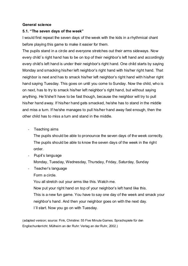 "General science 5.1. ""The seven days of the week"" I would first repeat the seven days of the week with the kids in a rhyth..."