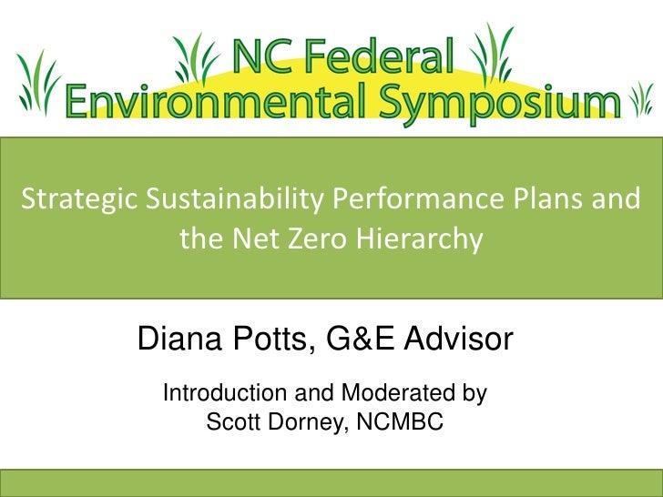 Strategic Sustainability Performance Plans and            the Net Zero Hierarchy        Diana Potts, G&E Advisor          ...