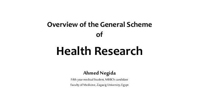 Health Research Overview of the General Scheme of Ahmed Negida Fifthyearmedical Student,MBBCh candidate FacultyofMedicine,...
