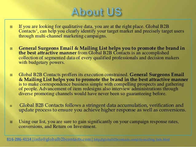 General surgeons email & mailing list helps you to promote the brand in the best attractive manner Slide 2
