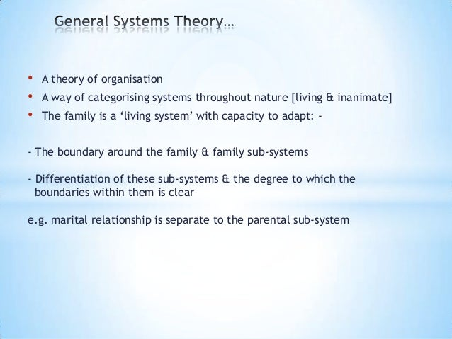 general systems theory in nursing 19022018 systems theory is an interdisciplinary field of science, which studies the nature of complex systems in nature, society and science, and studies complex.