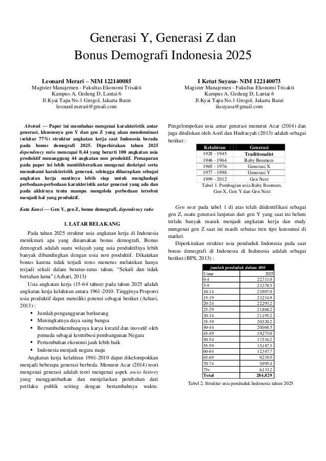 Generasi Y, Generasi Z dan Bonus Demografi Indonesia 2025 Leonard Merari – NIM 122140085 Magister Manajemen - Fakultas Eko...