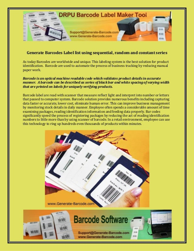 Generate barcodes label list