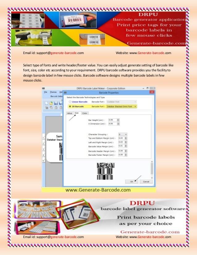 Generate databar stacked omni barcode font using drpu barcode software