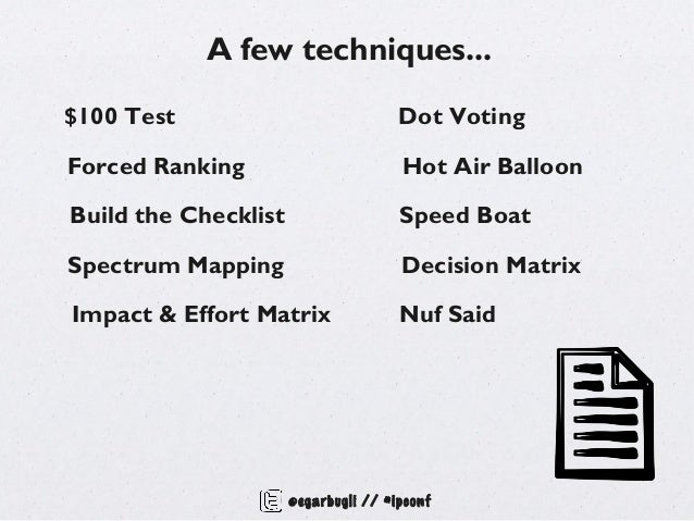 A few techniques...$100 Test                             Dot VotingForced Ranking                        Hot Air BalloonBu...