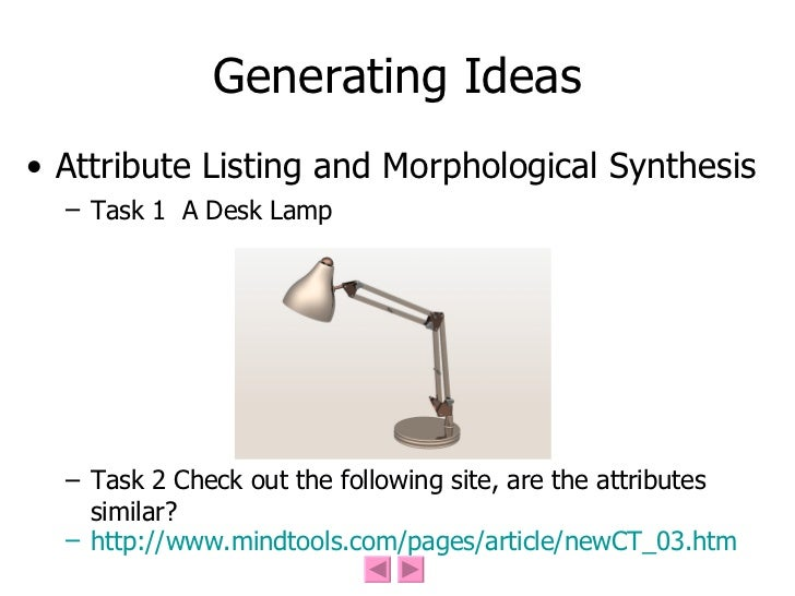 Generating Ideas <ul><li>Attribute Listing and Morphological Synthesis </li></ul><ul><ul><li>Task 1  A Desk Lamp </li></ul...
