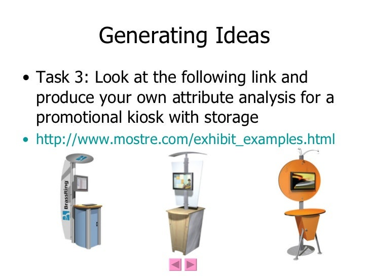 Generating Ideas <ul><li>Task 3: Look at the following link and produce your own attribute analysis for a promotional kios...