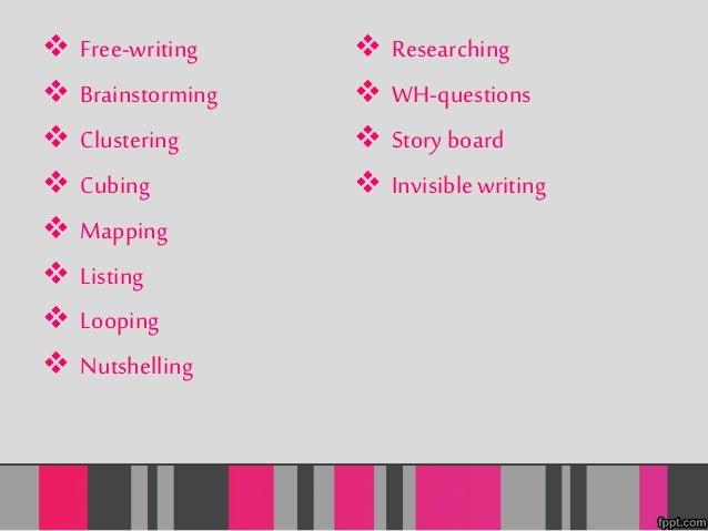  Free-writing   Brainstorming   Clustering   Cubing   Mapping   Listing   Looping   Nutshelling   Researching   ...