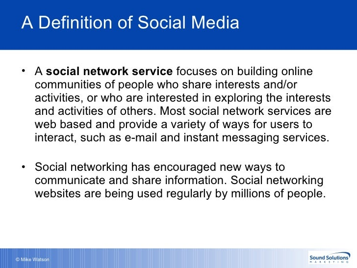 A definition of social media for Soil media definition