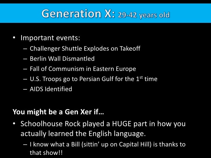 Generation X: 29-42 years old<br />Important events:  <br />Challenger Shuttle Explodes on Takeoff<br />Berlin Wall Disman...
