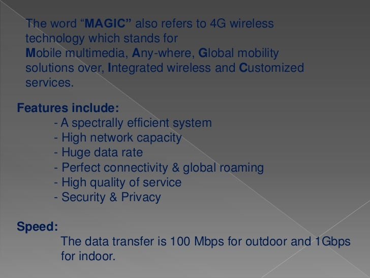 5 th      GENERATION5G is a is a technology used in research papers and projectsto denote the next major phase of mobile t...