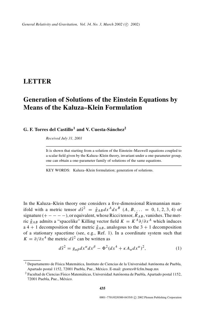 General Relativity and Gravitation, Vol. 34, No. 3, March 2002 ( c 2002)     LETTER  Generation of Solutions of the Einste...