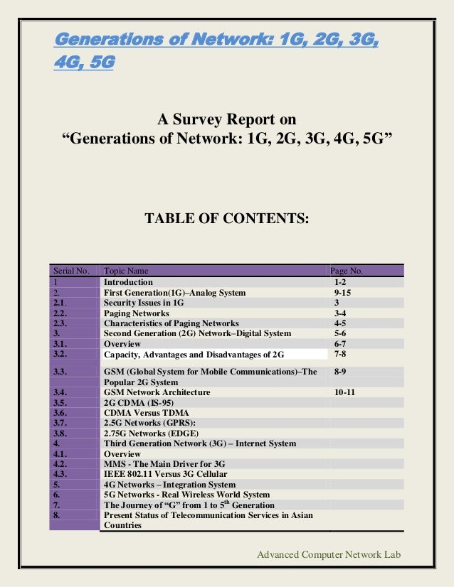 "Generations of Network: 1G, 2G, 3G,4G, 5G               A Survey Report on  ""Generations of Network: 1G, 2G, 3G, 4G, 5G""  ..."