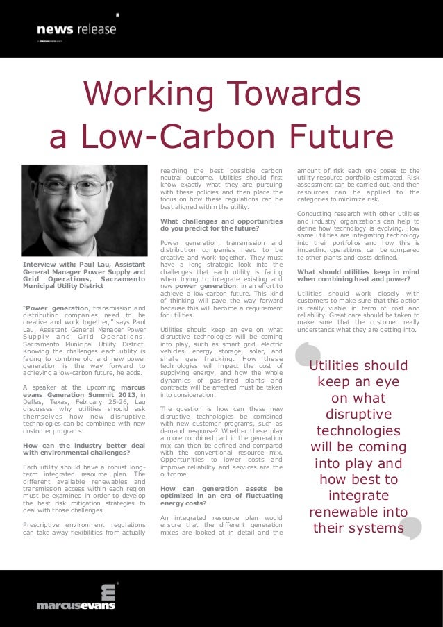 Working Towards        a Low-Carbon Future                                            reaching the best possible carbon   ...