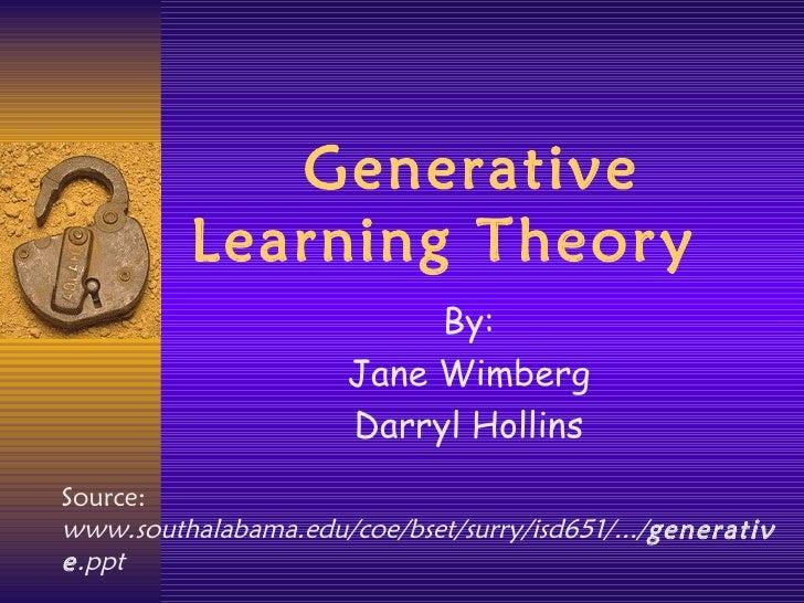 Generative Learning Theory By: Jane Wimberg Darryl Hollins Source:  www.southalabama.edu/coe/bset/surry/isd651/.../ genera...