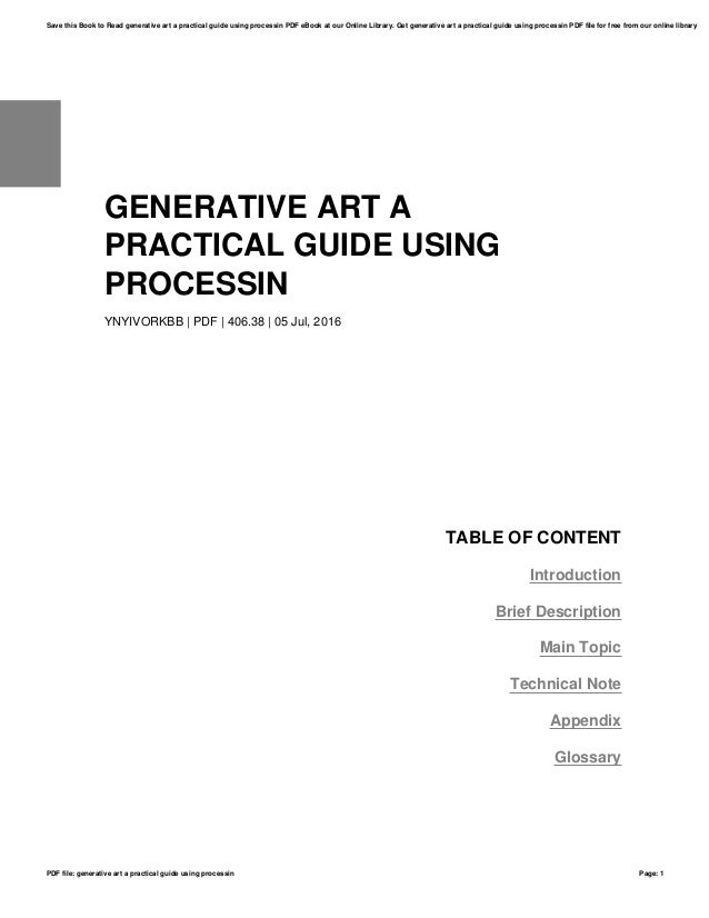 Generative Art A Practical Guide Pdf