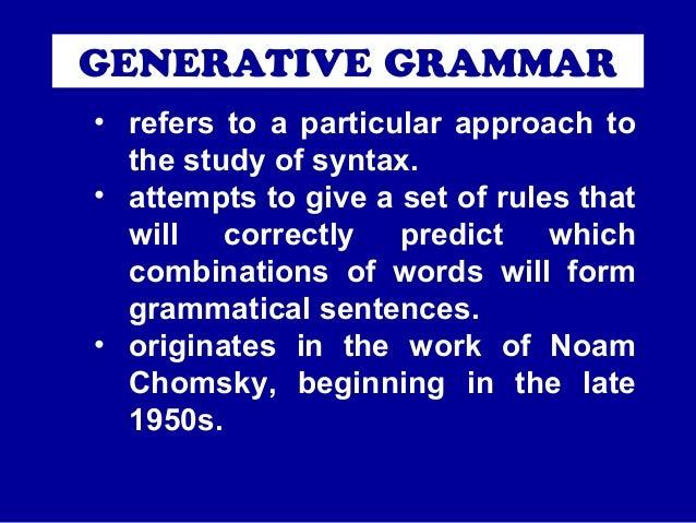 GENERATIVE GRAMMAR CHOMSKY THEORY PDF