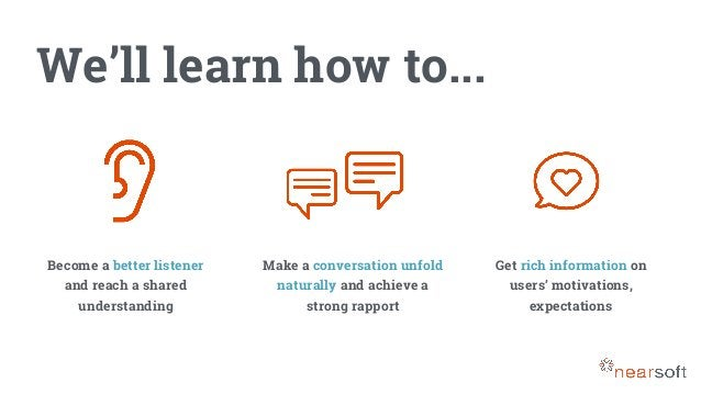 We'll learn how to... Become a better listener and reach a shared understanding Make a conversation unfold naturally and a...
