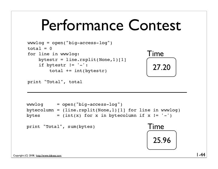 """Performance Contest             wwwlog = open(""""big-access-log"""")             total = 0             for line in wwwlog:     ..."""