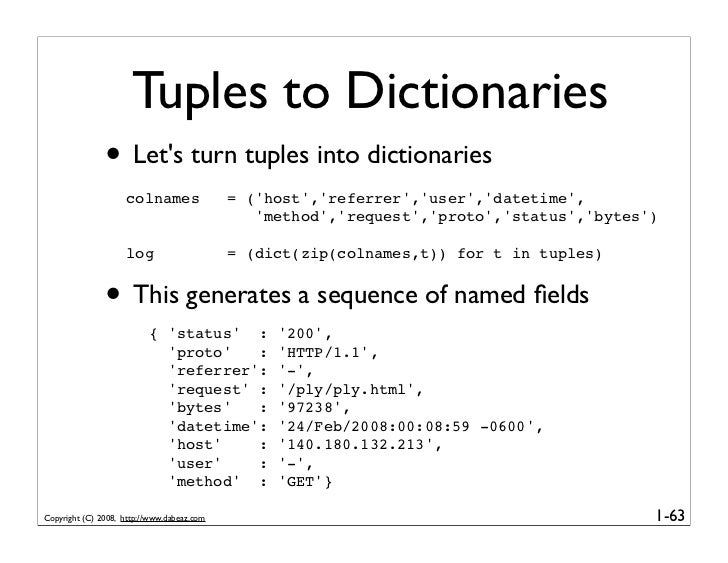 Tuples to Dictionaries                • Let's turn tuples into dictionaries                     colnames                = ...