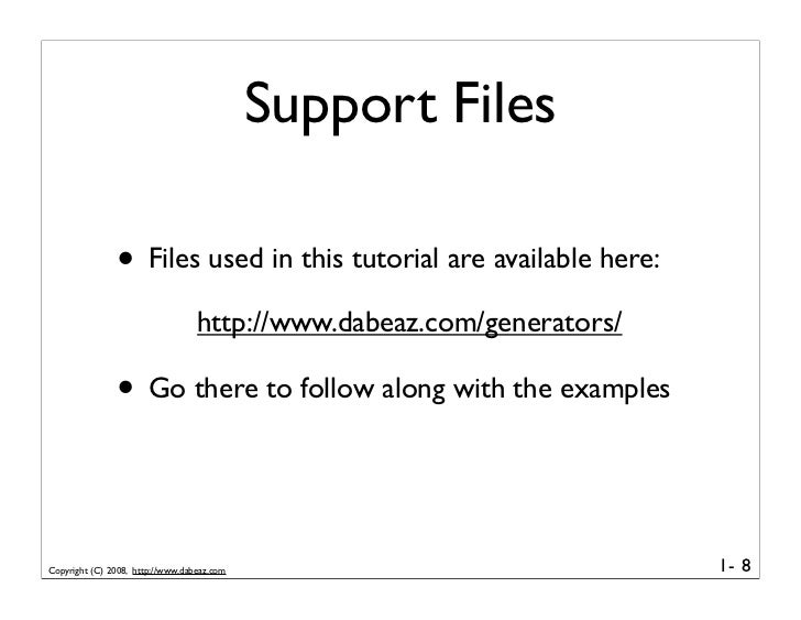Support Files                 • Files used in this tutorial are available here:                                   http://w...