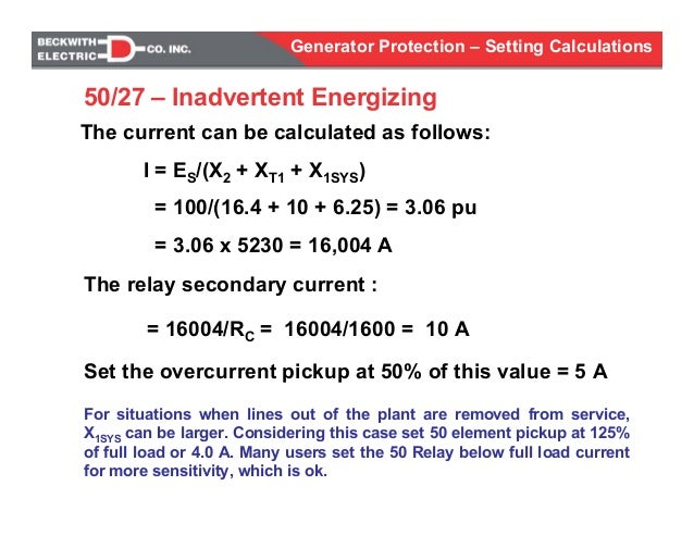 generator protection calculations settings rh slideshare net relay contact current calculation Current Calculations Triangle