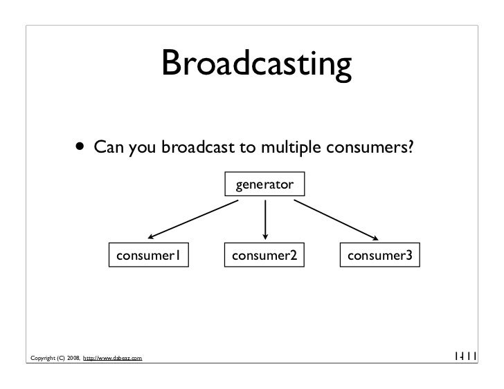 Broadcasting                 • Can you broadcast to multiple consumers?                                                 ge...