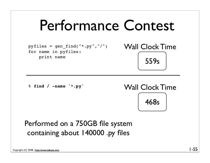 """Performance Contest              pyfiles = gen_find(""""*.py"""",""""/"""")              for name in pyfiles:                         ..."""