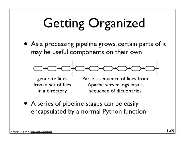 Getting Organized             • As a processing pipeline grows, certain parts of it                    may be useful compo...