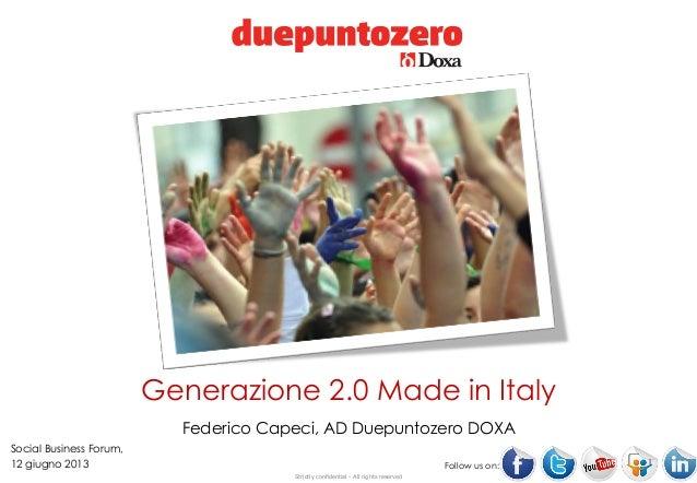 Strictly confidential - All rights reservedFollow us on:Generazione 2.0 Made in ItalyFederico Capeci, AD Duepuntozero DOXA...